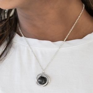"""""""Ripple Effect"""" - Silver Necklace With Black Bead"""